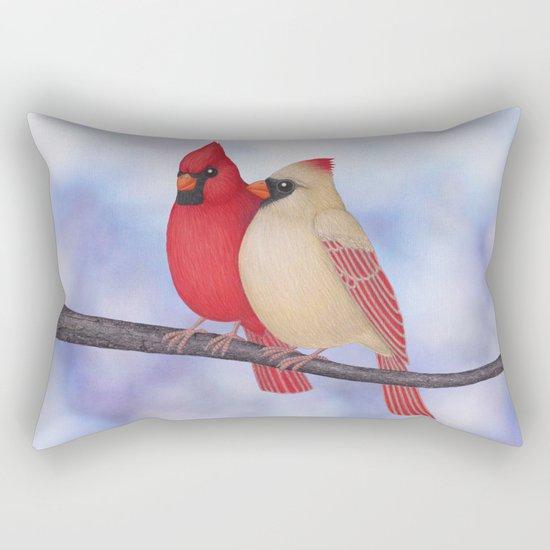 northern cardinals (bokeh) Rectangular Pillow