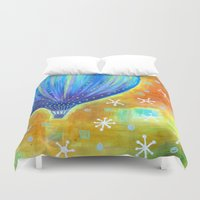 balloon Duvet Covers featuring Balloon by Carolina Coto Art