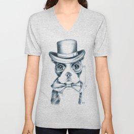 Boston Terrier Detective Unisex V-Neck