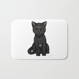 Sweet Black Kitty Cat with Bright Golden Eyes  Bath Mat