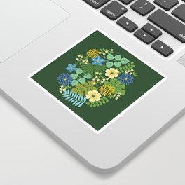 Tropical Blue and Yellow Floral Sticker