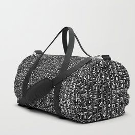 Hieroglyphics B&W INVERTED / Ancient Egyptian hieroglyphics pattern Duffle Bag