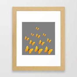 YELLOW BUTTERFLIES CHARCOAL GREY ART Framed Art Print