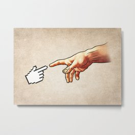 Funny 8bit Nerd & Geek Humor (Creation of Adam Parody) Metal Print