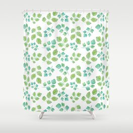 Summer Leaf Watercolor Shower Curtain