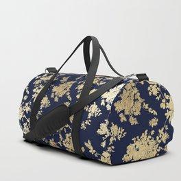 Elegant vintage navy blue faux gold flowers Duffle Bag