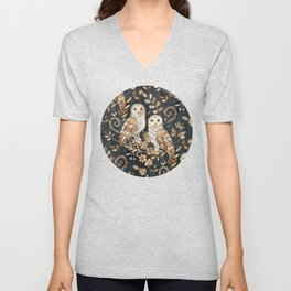 Wooden Wonderland Barn Owl Collage Unisex V-Neck