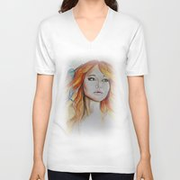 jennifer lawrence V-neck T-shirts featuring Jennifer Lawrence Watercolor  by Halinka H