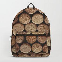 Wine corks background. Top view close up Backpack