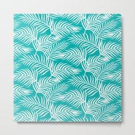 Palm Leaves_Teal Metal Print