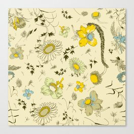 large flowers - cream and yellows Canvas Print
