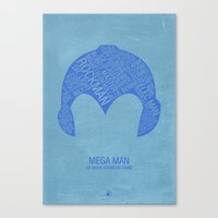 mega man Canvas Prints featuring Mega Man Typography by Kody Christian