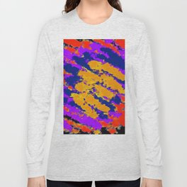 psychedelic splash painting abstract texture in red purple blue yellow Long Sleeve T-shirt