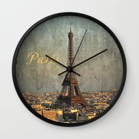 fitzgerald Wall Clocks featuring I love Paris by inourgardentoo