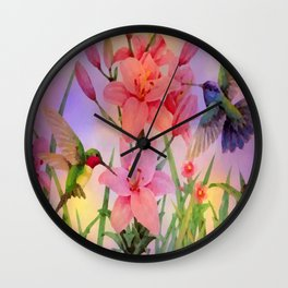 Painterly Hummingbirds And Flowers Wall Clock