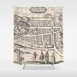 Vintage Map of Edinburgh Scotland (1581) Shower Curtain