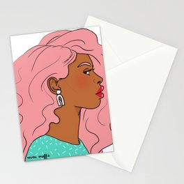 Pink Hair, Red Lips Stationery Cards