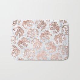 Boho rose gold floral paisley mandala elephants illustration white marble pattern Bath Mat