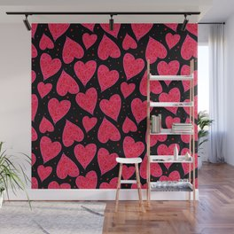 Red Pink Valentine Hearts Black Background Wall Mural