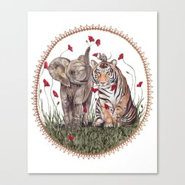 Tiger, Baby Elephant, and Mouse Playing in Poppies Canvas Print
