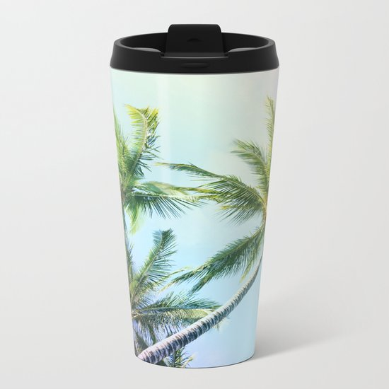 Relaxing Rainbow Color Palms Metal Travel Mug