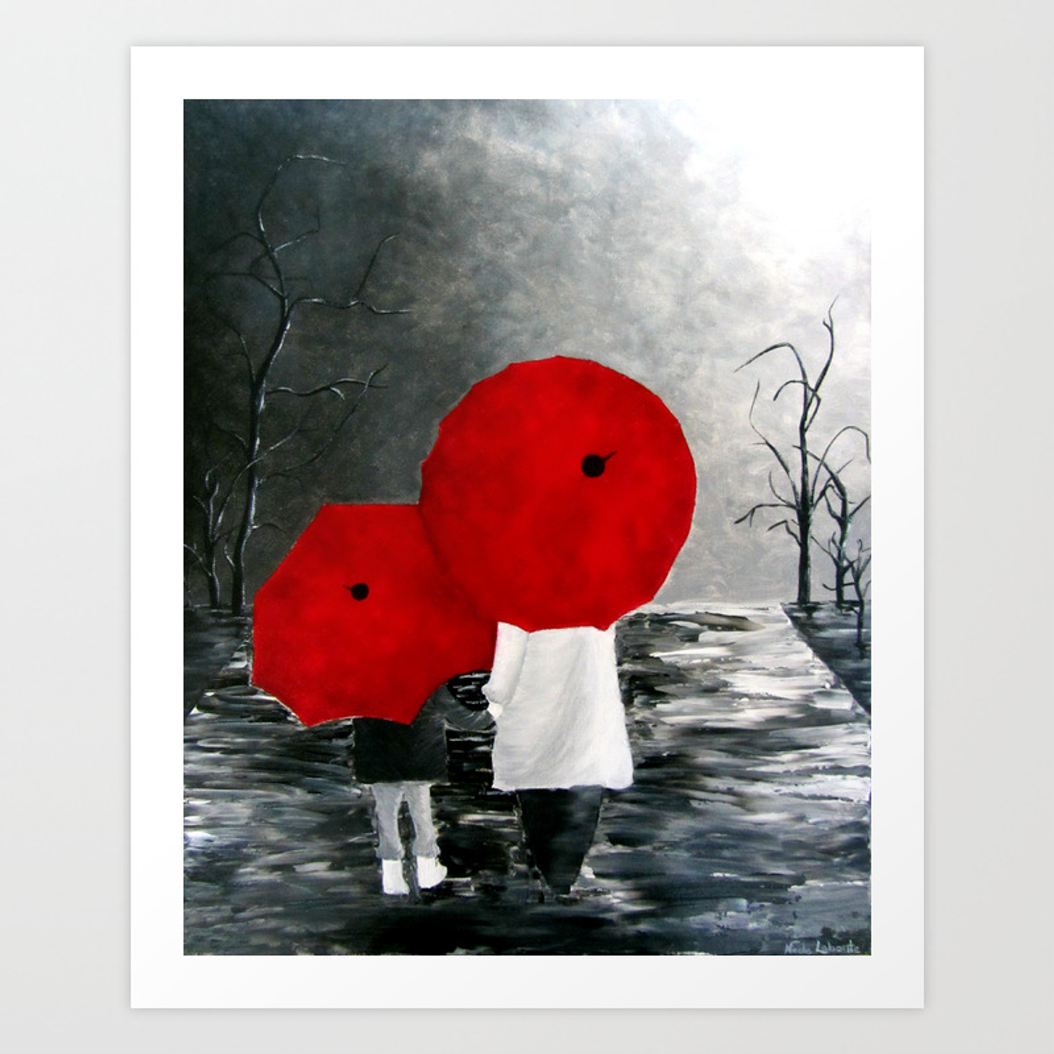 Black white red mother and child with umbrella print of painting rainy cloudy surrealism art print