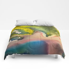 River watercolor abstraction painting Comforters