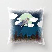 bat man Throw Pillows featuring Bat Man by voskovski