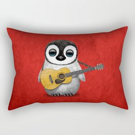 Musical Baby Penguin Playing Acoustic Guitar on Deep Red Rectangular Pillow