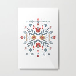 Scandinavian Folk Art Metal Print