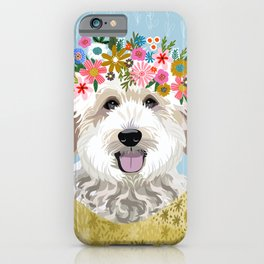 Golden Doodle Flower Portrait - dog portrait, goldendoodle dog, dog flower, flower crown, dog, dogs iPhone Case