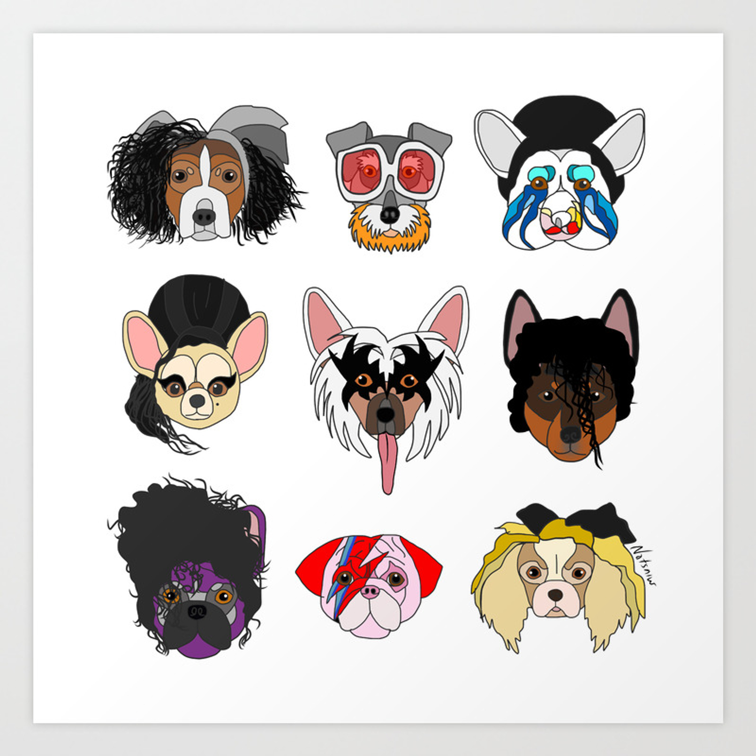 Pop Dogs Art Print By Notsniw Society6