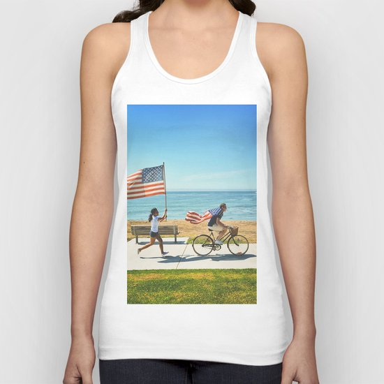 America flag bicycle Unisex Tank Top