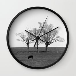 Three Trees and a Bull Wall Clock