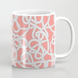 Nautical Rope Knots in Coral Coffee Mug