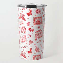 Cozy Hygge Elements in Red + White Travel Mug