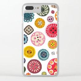 Vintage Button Love Clear iPhone Case