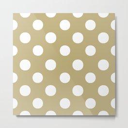 Polka Dots (White/Sand) Metal Print