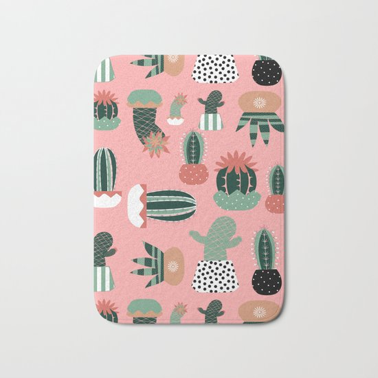 Succulents Pink Bath Mat