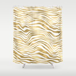 Glam Gold and White Zebra Print Pattern Shower Curtain