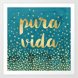 Pura Vida Gold on Teal Art Print