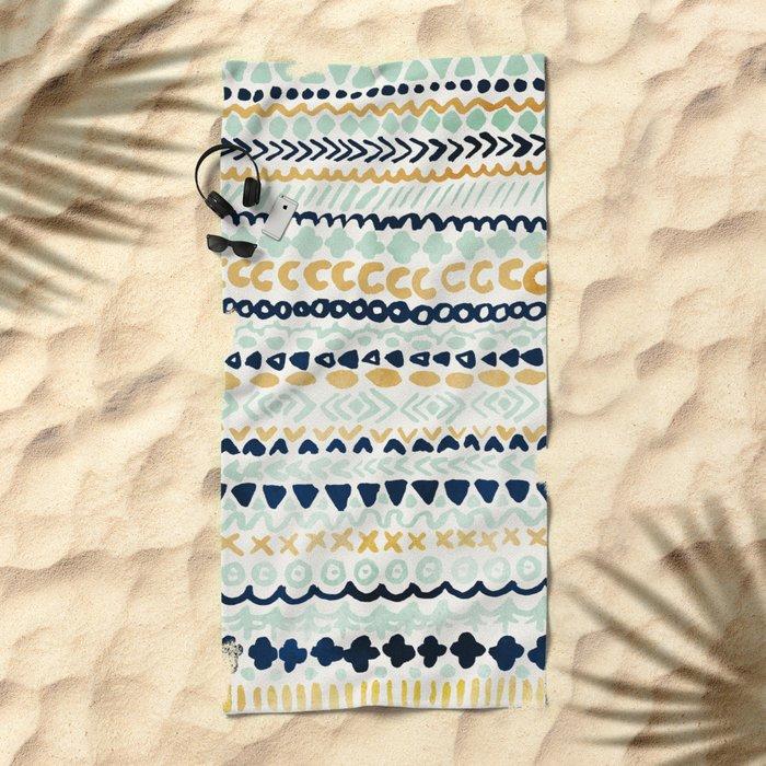 Navy, Teal & Mustard Tribal Beach Towel