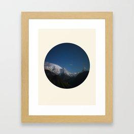 Snow Mountains Against A Blue Sky Circle Photo Framed Art Print