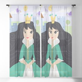 Fairy Tale Princess With Her Story Book Castle - Green Dress Sheer Curtain