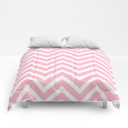 Chevron Stripes : Pink & White Comforters