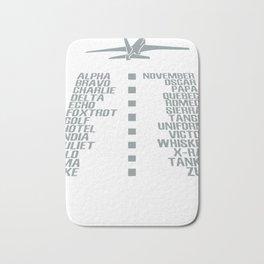 Airplane pilot phonetic alphabet Bath Mat