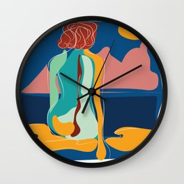 Dreamer girl portrait with scene intense colors Wall Clock