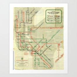 Vintage Map - Rapid Transit Map of New York City (1959) Art Print