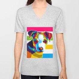 Colorful Dog Face Unisex V-Neck