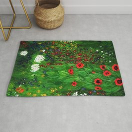 Red Sunflowers, Anemones & Red Poppies and Floral Farm Garden by Gustav Klimt Rug